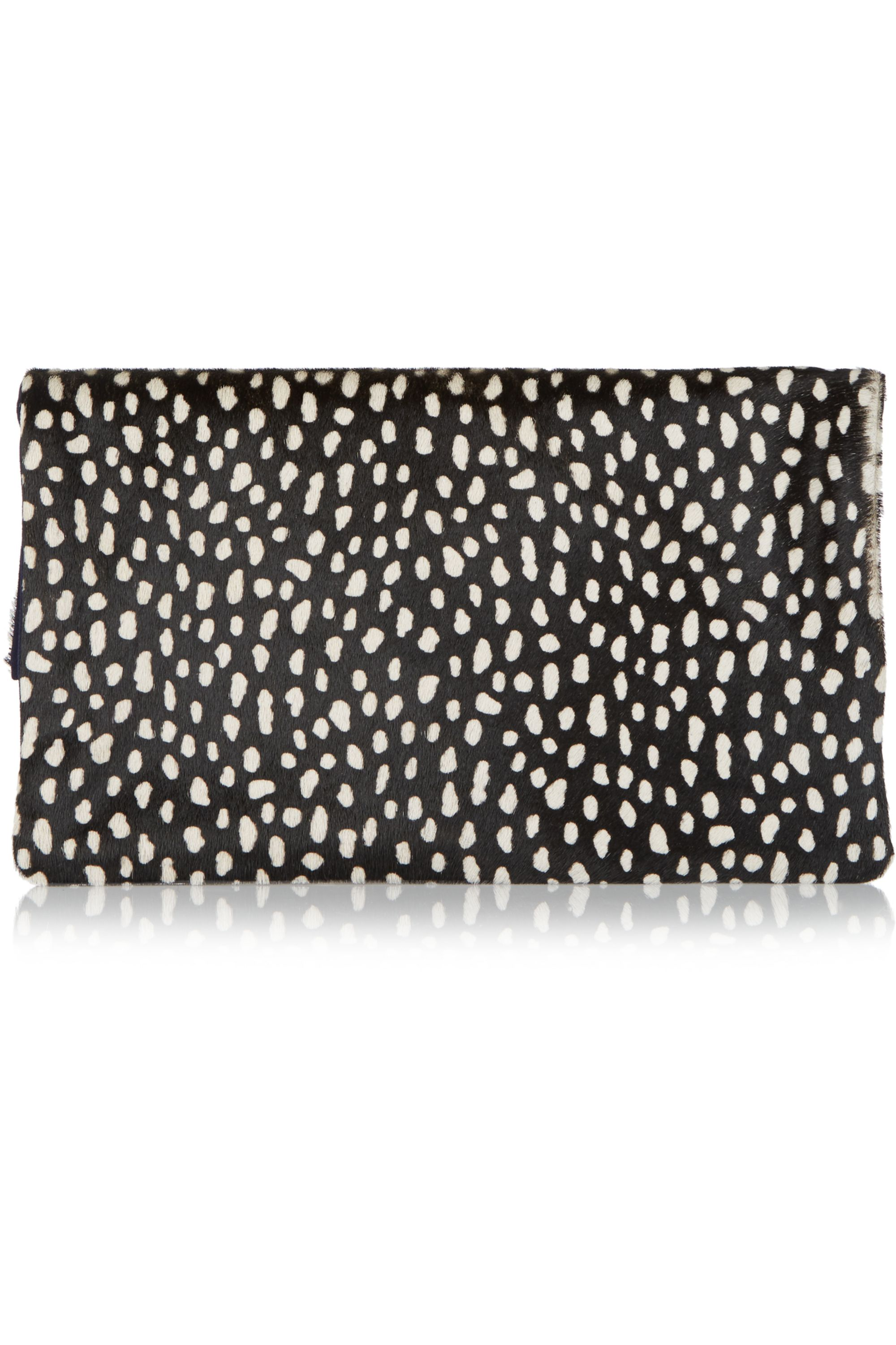 Clare V. Supreme fold-over printed calf hair and suede clutch