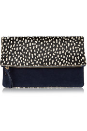 Clare V Supreme fold-over printed calf hair and suede clutch