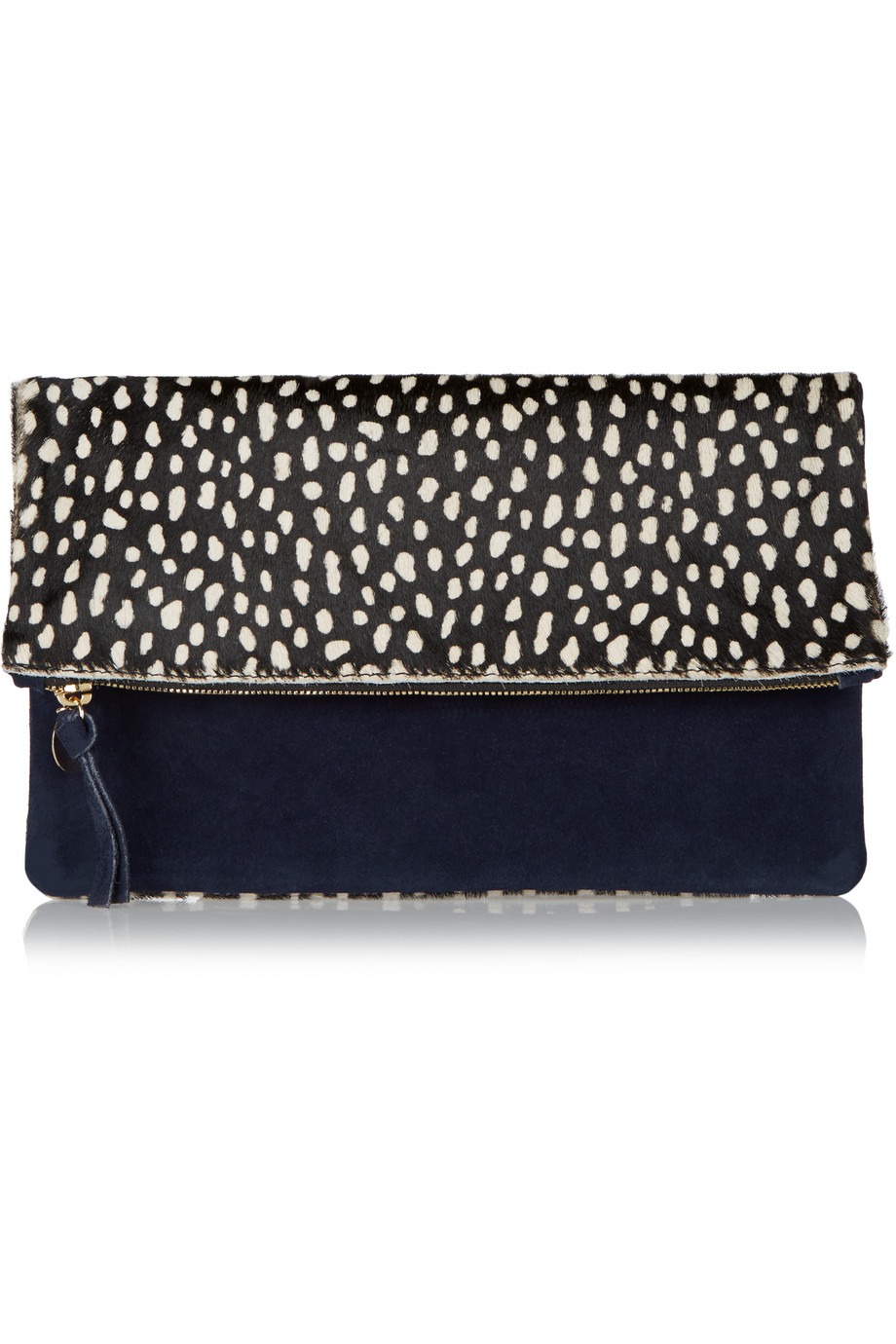 Clare V Supreme Fold-Over Printed Calf Hair and Suede Clutch, Black/Dark Purple, Women's, Size: One Size