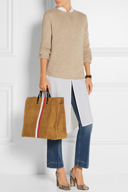 Simple leather and suede tote