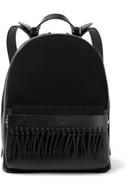 Bianca mini fringed leather and suede backpack
