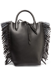 Bianca fringed leather and denim tote