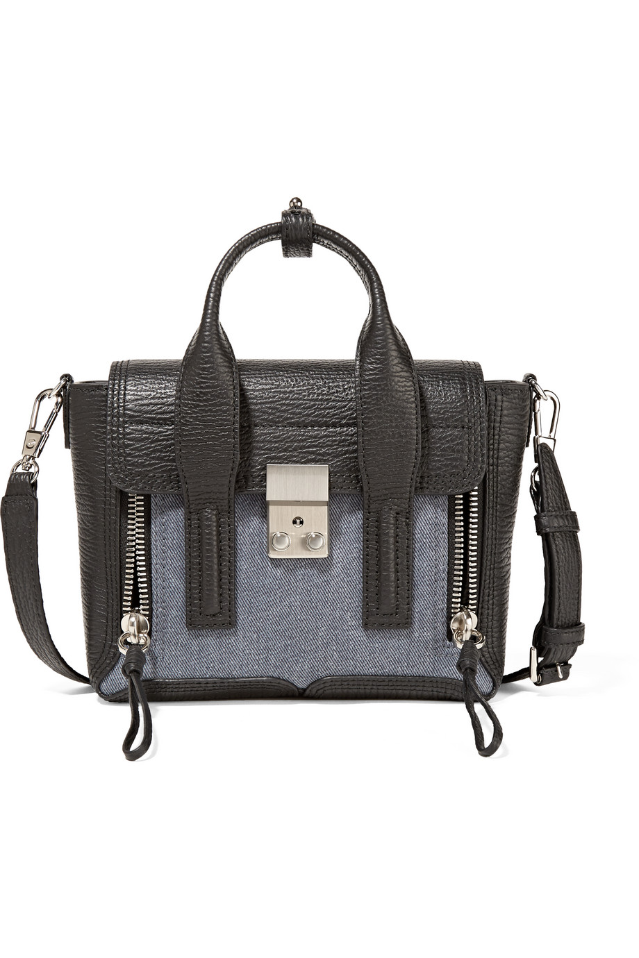 3.1 Phillip Lim The Pashli Mini Denim and Textured-Leather Trapeze Bag, Mid Denim/Black, Women's