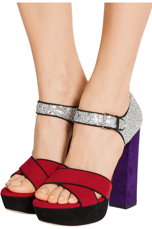 Miu Miu Glittered suede platform sandals