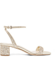 Glittered leather sandals