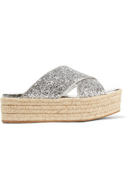 Glittered leather platform espadrilles