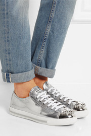 Miu Miu Crystal-embellished glossed-leather sneakers