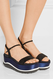 Miu Miu Suede, faille and satin platform sandals