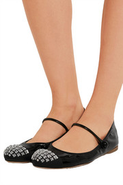 Miu Miu Crystal-embellished patent-leather ballet flats