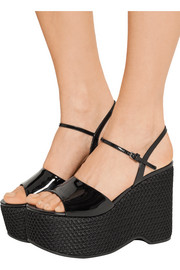 Patent-leather and mesh platform sandals