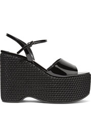 Miu Miu Patent-leather and mesh platform sandals
