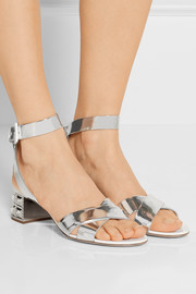 Swarovski crystal-embellished mirrored-leather sandals
