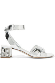Miu Miu Swarovski crystal-embellished mirrored-leather sandals
