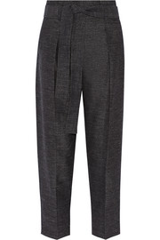 Wool and linen-blend tapered pants