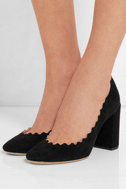 Scalloped suede pumps