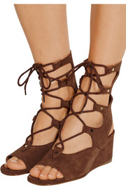Lace-up suede wedge sandals