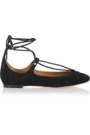 Chloé Lace-up suede ballet flats