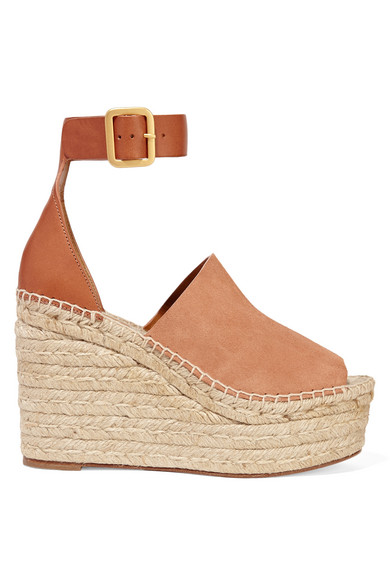 chloe female 263045 chloe suede and leather espadrille wedge sandals tan