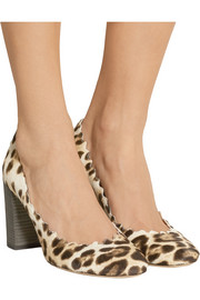 Scalloped leopard-print calf hair pumps