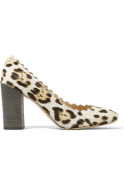 Chloé Scalloped leopard-print calf hair pumps