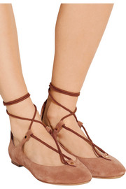 Lace-up suede ballet flats