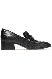 Chloé Zip-detailed python loafers