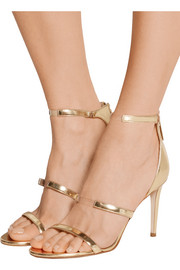 Horizon PVC-trimmed metallic leather sandals