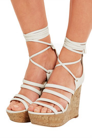 Yosemite leather and cork wedge sandals