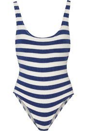 The Anne-Marie striped stretch-terry swimsuit
