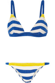 The Morgan striped stretch-terry triangle bikini