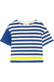 The Tee striped cotton-blend terry top