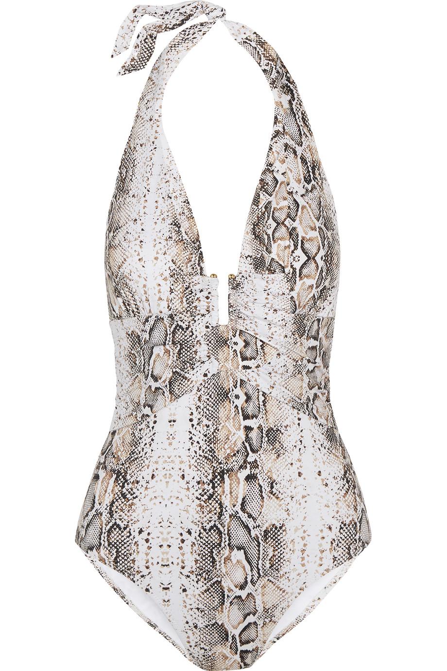 Heidi Klein Tobago Snake-Print Plunge Swimsuit, White/Snake Print, Women's, Size: M
