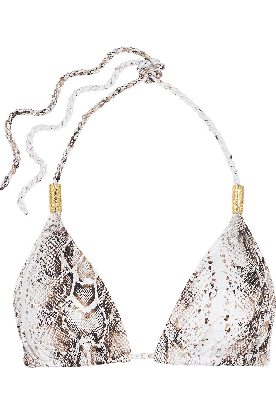 Heidi Klein Tobago Snake-Print Bikini Top, White/Snake Print, Women's, Size: L