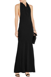 Kaila stretch-cady halterneck maxi dress