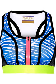 Signature printed stretch-jersey and mesh sports bra