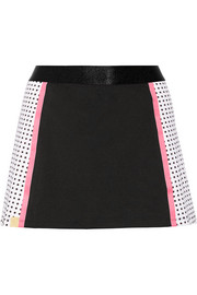 Monreal London Squad polka-dot stretch-jersey tennis skirt