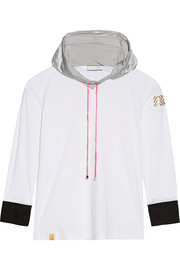 Perforated stretch-jersey hooded top