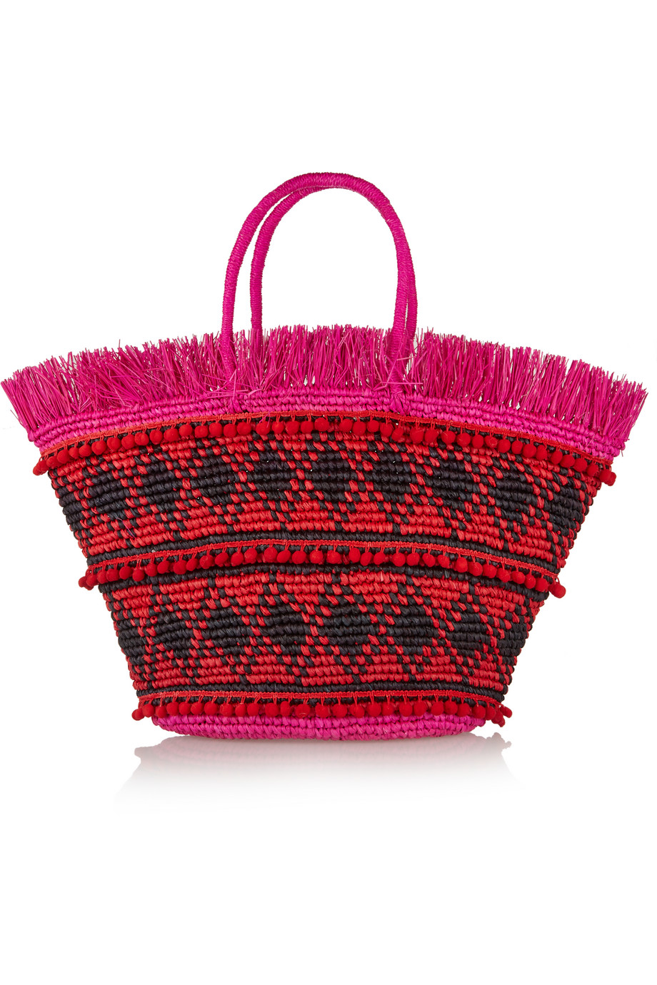 Sensi Studio Maxi Fringed Woven Toquilla Straw Tote, Red, Women's