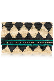 Rombos woven toquilla straw clutch