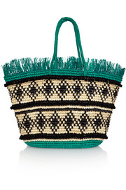 Maxi fringed woven toquilla straw tote