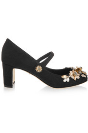 Embellished brocade Mary Jane pumps