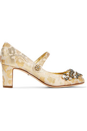 Embellished metallic brocade Mary Jane pumps