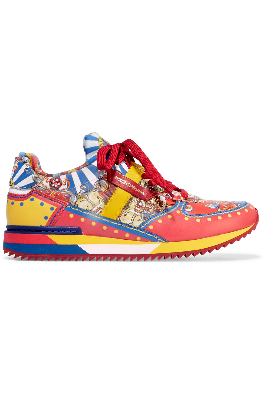 Dolce & Gabbana Printed Leather Sneakers, Red, Women's US Size: 4.5, Size: 35