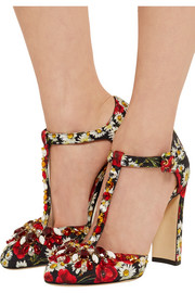Crystal-embellished printed brocade Mary Jane pumps