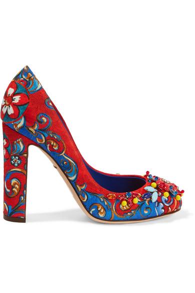 Dolce & Gabbana - Embellished Printed Brocade Pumps - Crimson