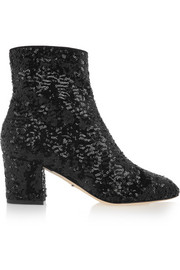 Sequined mesh boots