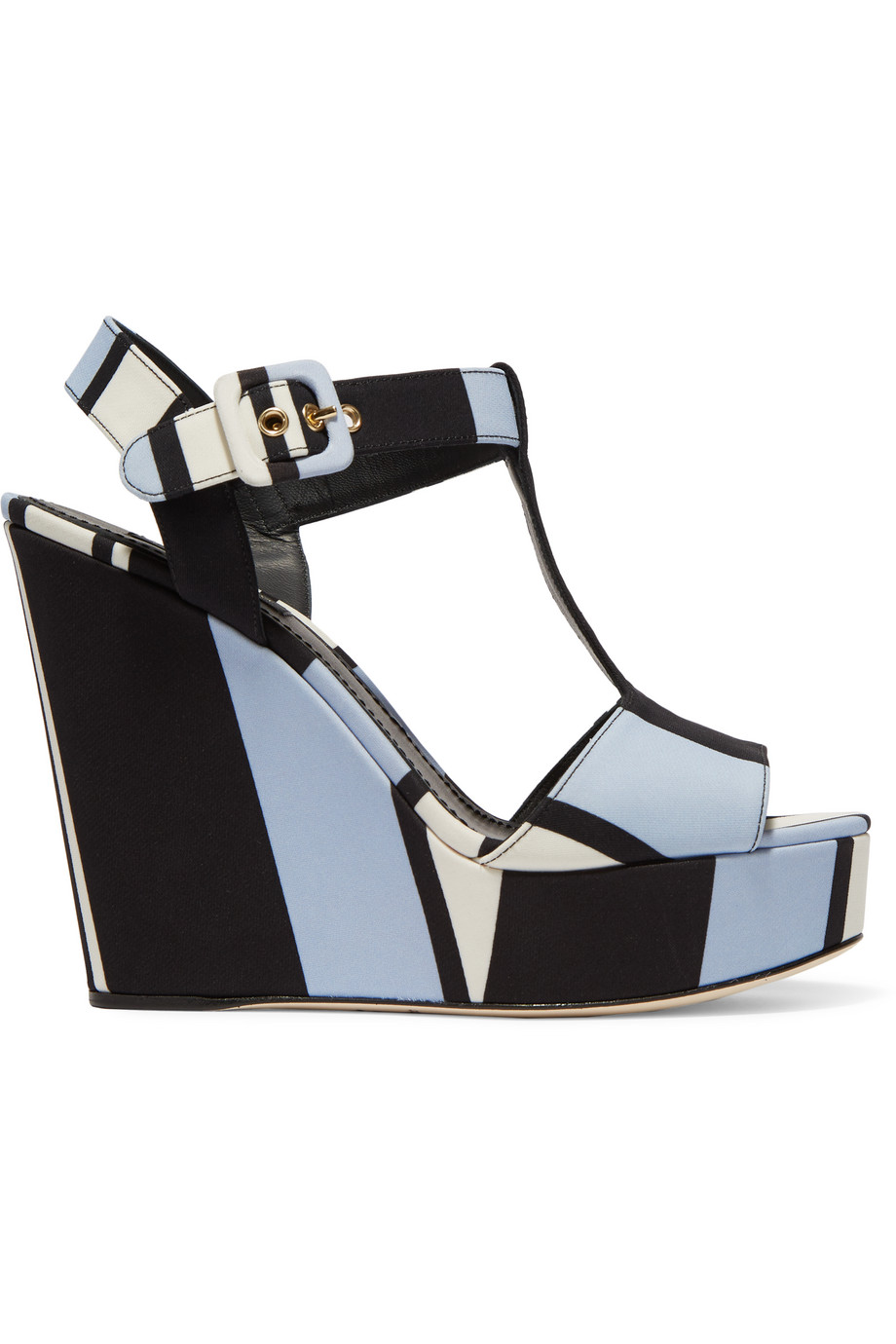 Dolce & Gabbana Striped Canvas Wedge Sandals, Light Blue, Women's US Size: 6, Size: 36.5