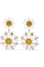 Gold-plated, Swarovski crystal and glass clip earrings