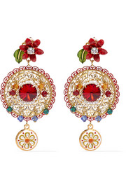 Dolce & Gabbana Gold-plated Swarovski  crystal clip earrings