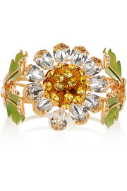 Dolce & Gabbana Gold-plated, Swarovski crystal and enamel cuff